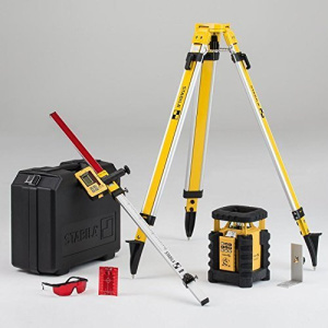 """Fully automatic, self-leveling, dual slope laser system offers vertical, horizontal and slope functions via the included remote control. Complete with DeTech """"elevation defined"""" receiver."""